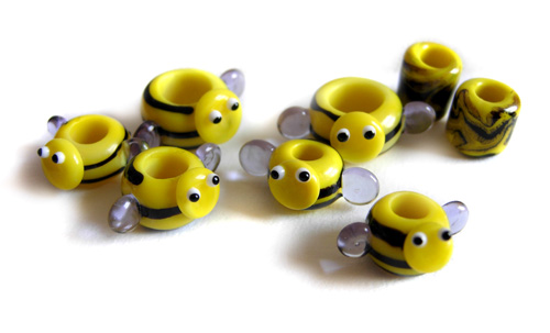 Dreadlock dredlock busy bees handmade lampwork glass beads